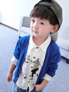 酷小鸭童装蓝色针织开衫