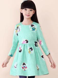 酷芭蒂童装图案印花草绿色连衣裙