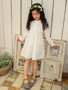金果果童装2017新品白色收腰裙