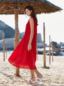 唯简尚女装新款红色棉麻文艺连衣裙