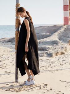 唯简尚新款无袖经典黑色棉麻连衣裙