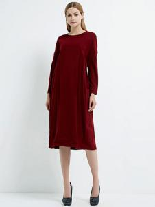 珂尼蒂思女装酒红色长裙