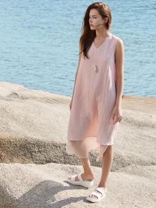 唯简尚女装17新款棉麻文艺连衣裙