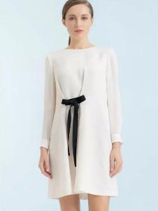 珂尼蒂思女装2017新品白色雪纺裙