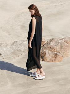 唯简尚17新款魅惑黑色文艺连衣裙