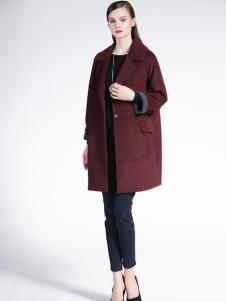 适时雅集新款酒红色时尚大衣