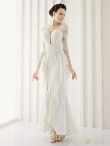 laberry拉宝丽白色蕾丝拼接礼服