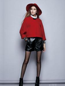 楚阁女装红色短款上衣