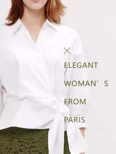 兰卡芙2017春季新品收腰系带白衬衫
