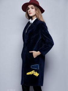 楚阁女装蓝色呢外套