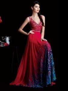 laberry拉宝丽红色闪亮V领礼服裙