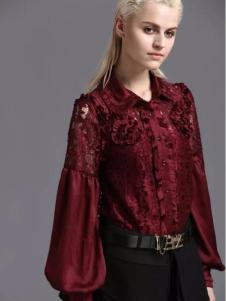 蓝黛圣菲女装酒红色衬衫