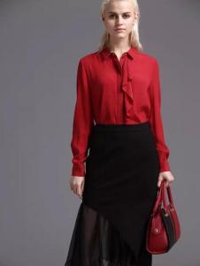 蓝黛圣菲女装红色衬衫