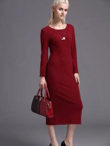 蓝黛圣菲女装红色长裙