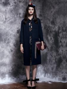 楚阁女装蓝色H版长款外套