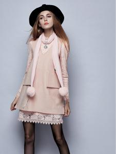 楚阁女装粉色假两件连衣裙