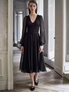 Lanvin朗雯2017春季新品黑色V领连衣裙