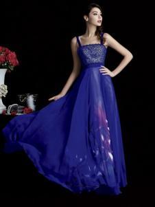 laberry拉宝丽宝蓝色吊带抹胸礼服裙