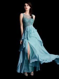 laberry拉宝丽蓝色闪亮开衩礼服