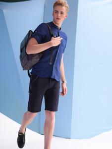 RED.P.G男装蓝色短袖衬衫