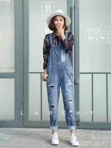 LARCHY来尔佳昵2017春装新品牛仔背带裤