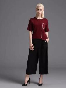 蓝黛圣菲女装黑色阔腿裤