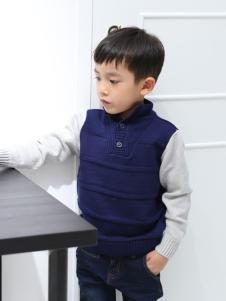 蓝蚁迪堡童装男童拼接针织