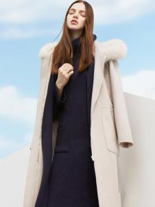 LWEST朗文斯汀女装毛领帽长款大衣