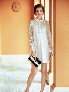 莎斯莱思2017春季白色H版连衣裙