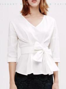 兰卡芙2017春季新品V领白衬衫