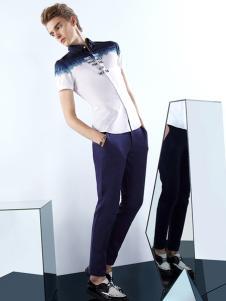 新升流派白色短袖衬衫