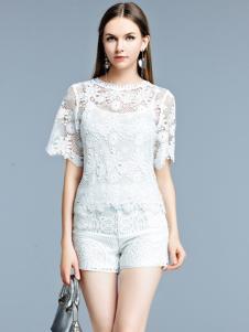 艾丽哲白色蕾丝假两件T恤