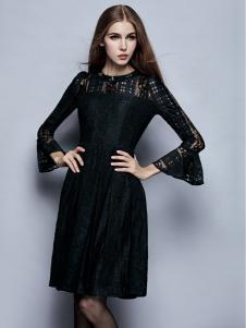 楚阁黑色蕾丝蓬蓬袖连衣裙