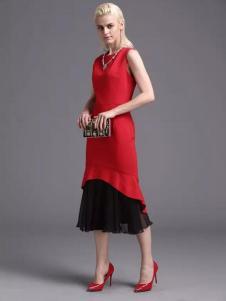 蓝黛圣菲女装红黑蕾丝拼接裙
