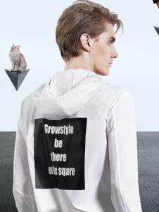 新升流派白色字母印花休闲外套
