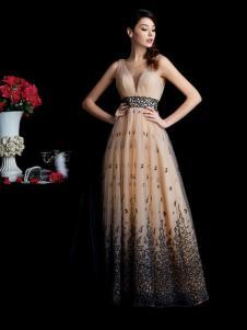 laberry拉宝丽香槟色深V礼服裙