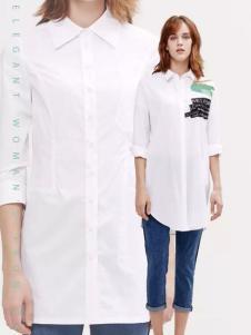 兰卡芙2017春季新品中长款白衬衫