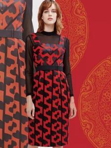 兰卡芙2017春季新品收腰背带连衣裙