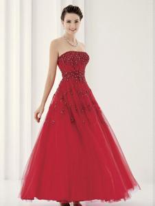 laberry拉宝丽大红色抹胸式礼服