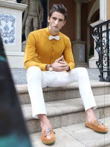 劳夫罗伦男装亮黄色衬衫