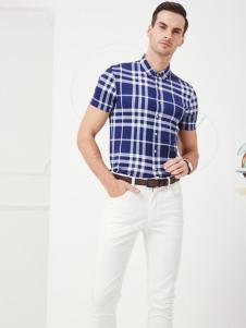 老爷车男装2017春夏新品蓝色格纹短袖衬衫