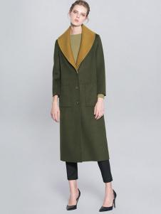 例外女装橄榄色长款大衣