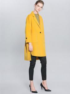 例外女装亮黄色廓形大衣