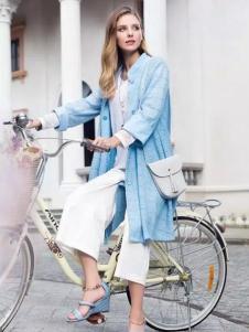 莉佳丽女装蓝色立领外套
