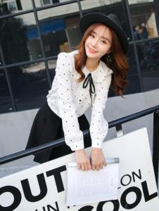 莉雅莉萨白色波点长袖衬衫