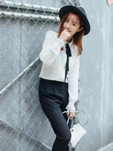 莉雅莉萨白色雪纺长衬衫