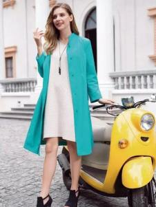 莉佳丽女装青绿色中长款外套