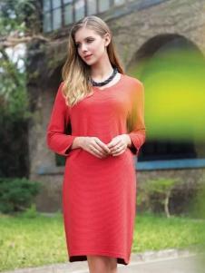 莉佳丽女装红色连衣裙