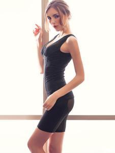 亮尔迷黑色美体塑身连体衣