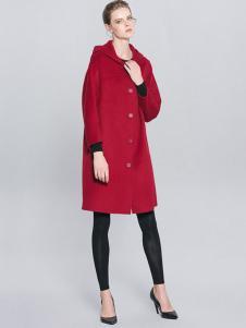例外女装红色连帽廓形大衣